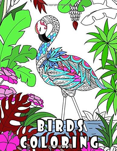 BIRDS COLORING: 鳥の塗り絵 ,動物の塗り絵/マンダラ 塗り絵 ,ストレス解消とリラク /花々のマンダラぬりえ/ マンダラ大人/ 子供用マンダラ