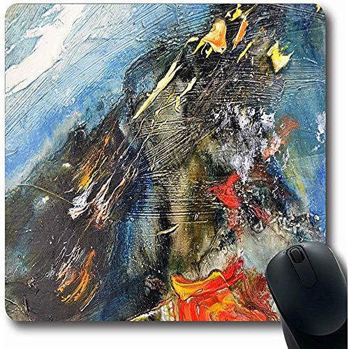 Mousepads Heldere Abstract Hedendaagse Moderne Schilderij Olie Op Doek Natuur Brushstroke Kleuren Tekenen Ontwerp Oblong Vorm 18X22Cm Antislip Gaming Mouse Pad