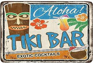 InterestPrint Tiki Bar Rusty Sign Hawaiian Aloha Exotic Cocktails Doormat Non Slip Indoor/Outdoor Doormat Floor Mat Home D...