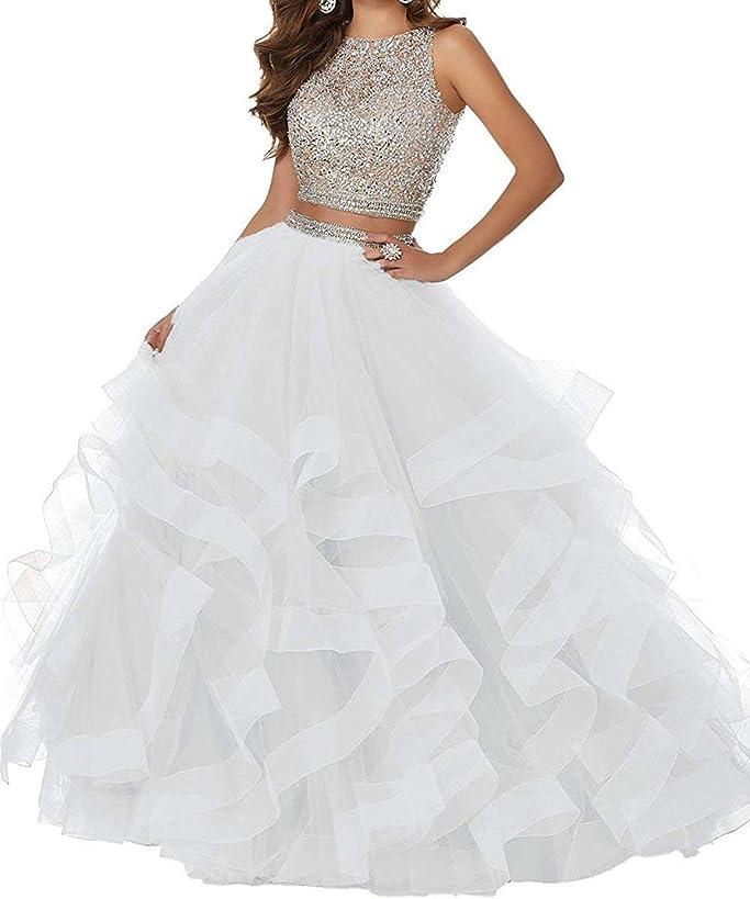 vimans Women's Long Beaded Prom Dress 2019 Asymmetric Formal Prom Ball Gown D324