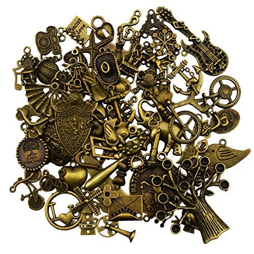 Antike Vintage Bronze Anhänger Charms für DIY Schmuckherstellung, Armband, Halskette, Ohrring, Schmucksachen Kunsthandwerk Dekoration Zubehör (70 Stücke)