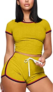 Annystore 2 Piece Outfits Short Sets for Women - Casual Sport Short Sleeve Print Top and Bodycon Short Pant