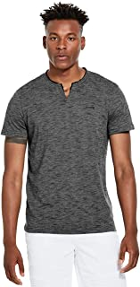 GUESS Factory Men's Conrad Space-Dye Slit-Neck Short Sleeve Tee
