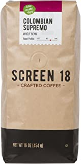 Screen 18 Organic Colombian Supremo Single Origin Premium Crafted Coffee, Whole Bean, Medium/Dark Roast, 1 LB Bag