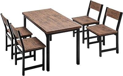 モダンデコ ダイニングテーブルセット ダイニングテーブル 5点セット 4人掛け ダイニングセット ダイニングテーブルセット (ブラウン×ブラック)