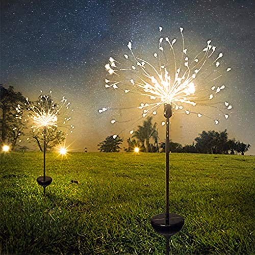 2 Pack Solar Firework Lights Plug in Ground, 90LED 8 Modes Solar Garden Colorful String Lights, Starburst Lights for Pathway, Patio, Lawn, Backyard, Christmas Party Decorative(WW-Oval)