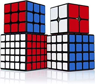 Findbetter 競技専用キューブ セット 競技用 2x2 3x3x3 4x4x4 5x5x5 四個セット ギフト包装済み 黒素体 世界基準六色 こども 脳トレ 知育玩具 競技用キューブ 2345階四点セット 黒素体 (2345四個セット)
