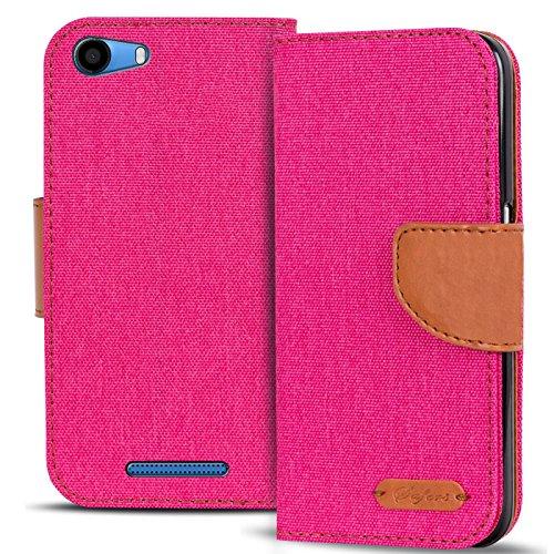 Conie Wiko Lenny 2 Hülle für Lenny 2 Tasche, Textil Denim Jeans Erscheinungsbild Booklet Cover Handytasche Klapphülle Etui mit Kartenfächer, Pink