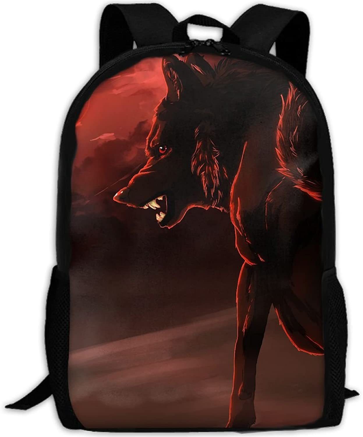 Backpack Briefcase Laptop Travel Hiking School Bags Angry Wolf Red Moon Daypack Shoulder Bag