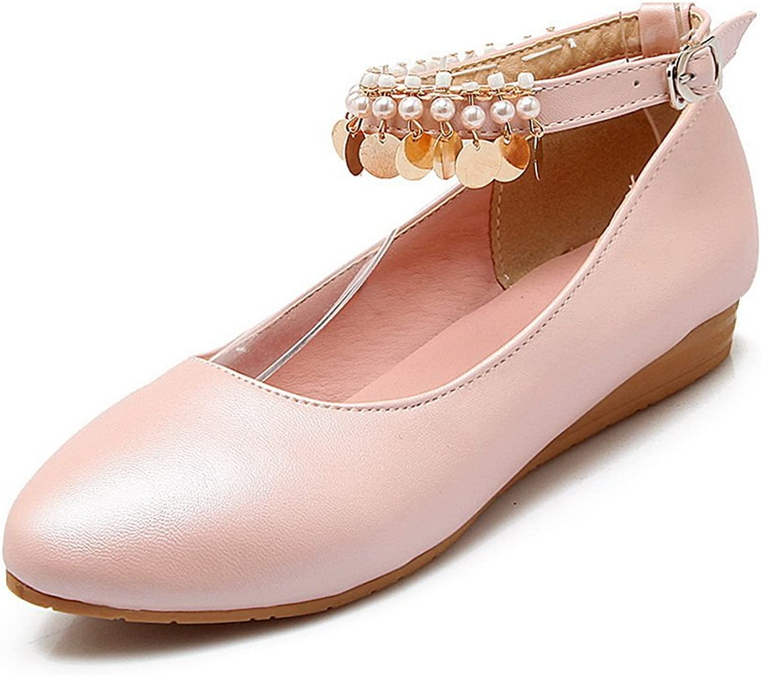 BalaMasa Ladies Buckle Bead Metal Ornament Imitated Leather Pumps-shoes