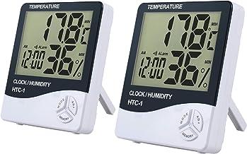 REFURBISHHOUSE LCD Digital thermometre hygrometre temperature humidite compteur horloge//magnetique Blanc