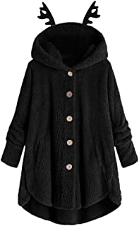 Women Hooded Outerwear Coat Solid Button Jacket Outwear Overcoat Casual Pullover Loose Sweatshirt