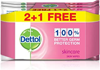 Dettol Skincare Antibacterial Skin Wipes 40 Count 2+1 Free