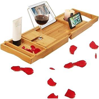 uyoyous バスタブトレー 伸縮 バステーブル お風呂 テーブル お風呂グッズ お風呂用 テーブル バスグッズ 竹製