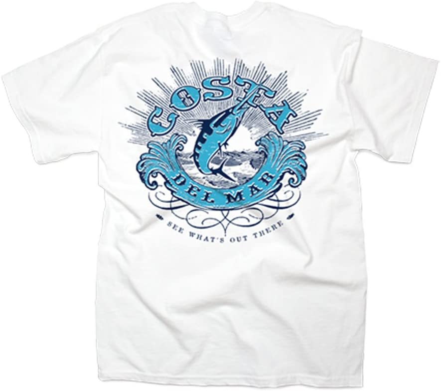 Pick Size-Free Ship Costa Del Mar Americosta Short Sleeve T-shirt White