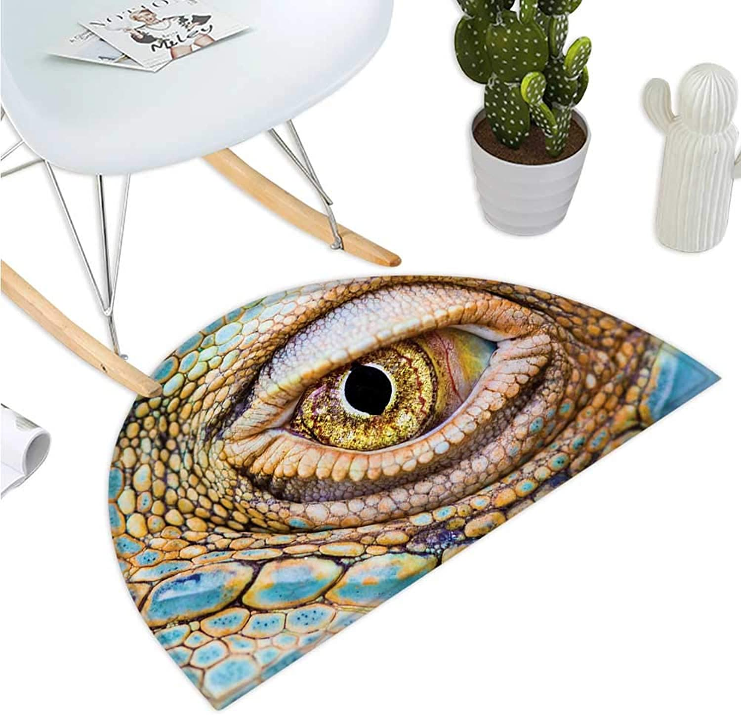 Reptile Semicircle Doormat Graphic of Creepy Eye of Iguana with colorful Details in Skin Tropical Theme Print Entry Door Mat H 39.3  xD 59  Multicolor