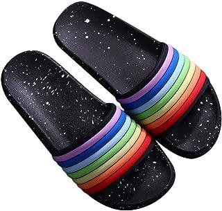 [Jacklin Fashion] レインボースリッパ、LGBTプライド月間サンダル、快適な滑り止めガーデンシューズビーチシューズフリップフロップ
