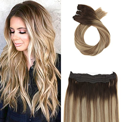 Moresoo Flip on Hair Extensions Balayage Color #3 Fading to #8 and #22 Halo Remy Mensch Hair Extensions 80 Grams 16 Inch Wire Hair Extensions Mensch Hair 100% Real Mensch Hair