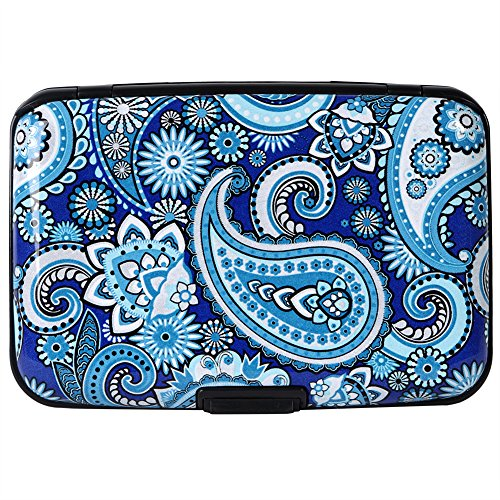 Aluminum Wallet RFID Blocking Slim Metal Credit Card Holder Hard Case (Floral Paisley Pattern)