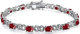 Verona Jewelers Womens Saphire or Ruby Gemstone Bracelet-...