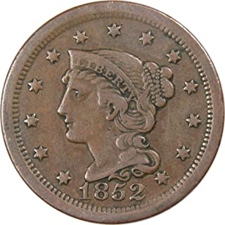 1852 1c Braided Hair Large Cent Penny US Coin F Fine