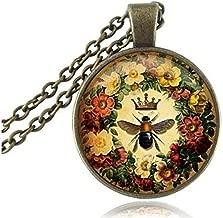 Queen Bee Necklace Flower Jewelry Animal Honeybee Cabochon Pendant Letter Jewelry Antique Bronze Chain Neckless Women Jewellery