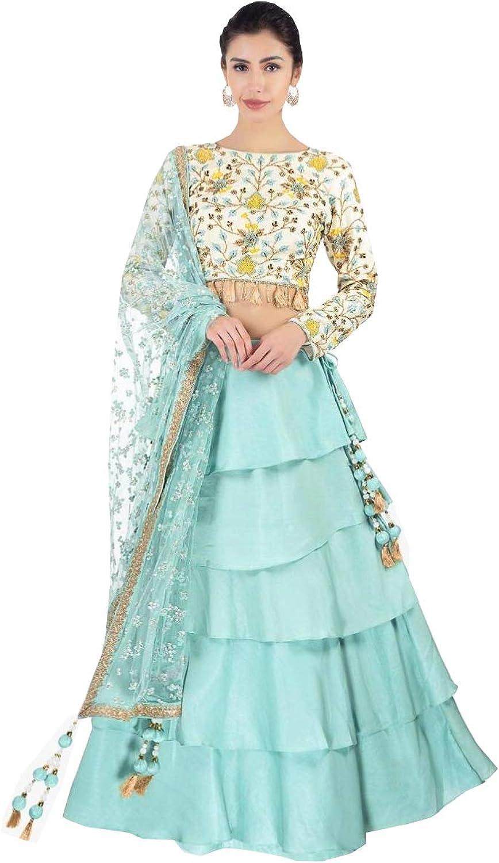 AMIT FASHIONS Exclusive Indian Designer Semi Stitch Lehenga Choli for Women's bluee
