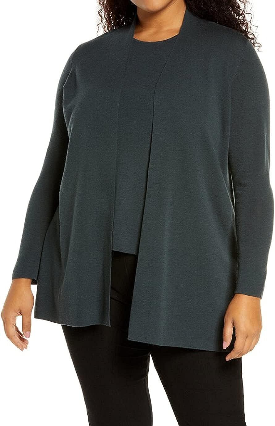 Eileen Fisher Plus Forest Night Ultrafine Merino Wool Long Cardigan Size 2X MSRP $318
