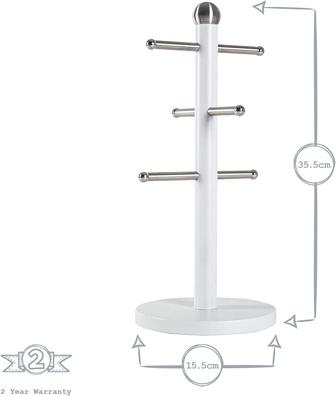 Harbour Housewares Taza del Acero de la Vendimia /Árbol Blanco Mate 6 manijas del Soporte Minimalista