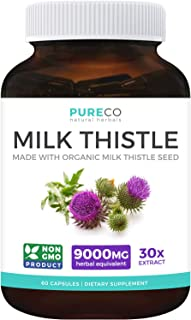 Organic Milk Thistle Extract (80% Silymarin) Super-Concentrated for 9,000mg of Milk Thistle Seed Power: Supports Liver Cle...
