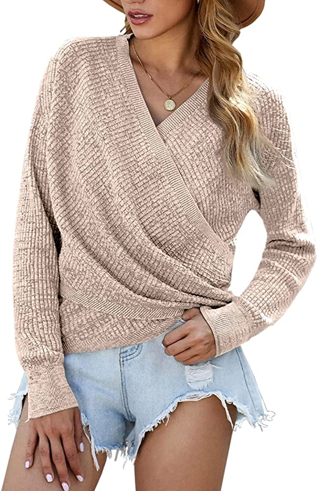 Womens Cross Front V Neck Knit Sweater Long Sleeve Causal Pullover Jumper Tops