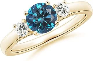 Round Enhanced Blue & White Diamond Past Present Future Ring (6mm Enhanced Blue Diamond)