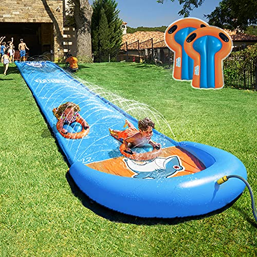 Slip and Slide, Water Slide, 31ft Slip and Slide for Kids and Adults with Splash for Races, Water Slides for Kids with 2 Body Boards