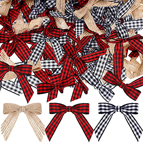 Christmas Mini Plaid Burlap Bows Burlap Decorative Bows Buffalo Plaid Bows White and Black Checkered Bows Red and Black Gingham Ribbon Bows for Christmas Tree DIY Crafts, 3 Colors (60 Pieces)