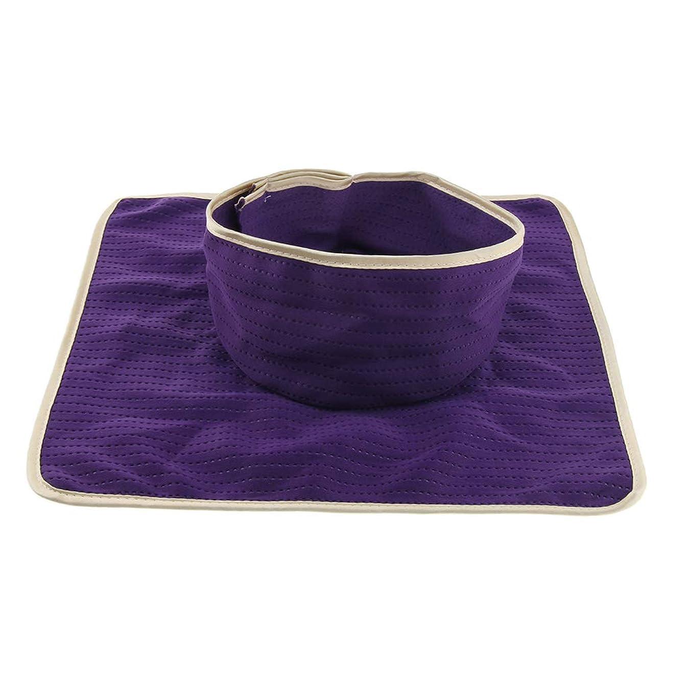 リズム火山学者廃止Baoblaze マッサージのベッド用 パッド マットシート 顔の穴付き 洗える 約35×35cm 全3色 - 紫