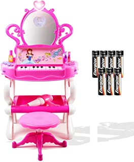 Dimple Girls Princess Toy Vanity Set with Piano Keyboard Sounds & Flashing Lights, Great Gift for Kids (Batteries Included)