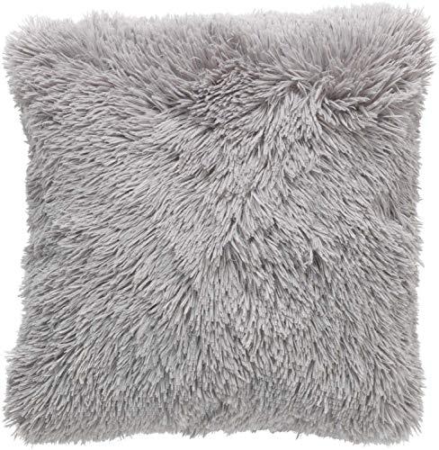 Dutch Decor Fluffy Sierkussen, Polyester, Licht Grijs