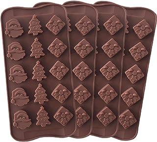 Wenlai 4 Piezas Moldes de Silicona para Navidad Chocolate Moldes para Hombre de Jengibre Bombones Molde de Silicona para Tartas de 6 Cavidades Silicona Copo de Nieve Moldes para Tartas Caseras