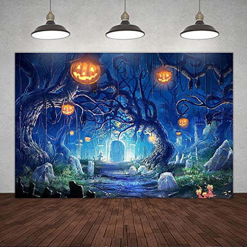 5×3ft Halloween Pumpkin on Trees Backdrop Horror Forest Trees Castle All Saints' Day Ghost Photography Background Scary Spooky Road Dark Night Party Banner Decorations Portrait Photo Booth Props