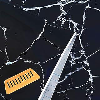 GLEOOD 壁紙 カッティングシート 防水 シール はがせる 45cmx10m 道具 付 (大理石 ブラック)