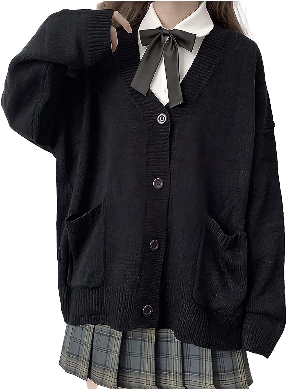 GK-O Lady Girl Knitted Sweater Coat Cardigan Jumper Top Preppy Japanese Style Kawaii JK Cute