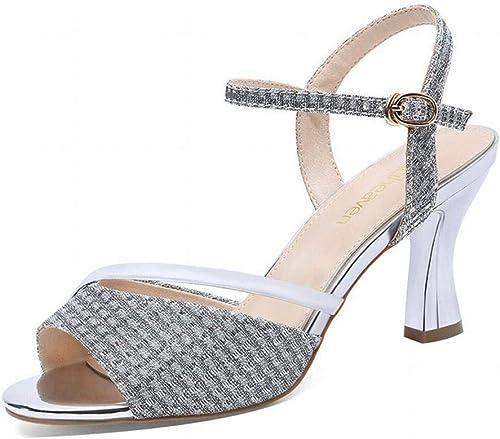 LTN LTN Ltd - sandals Sandales épaisses Et épaisses Chaussures D'été pour Femmes à Talons Hauts pour Femmes Chaussures pour Femmes Chaussures Grande Taille, Argent, 38