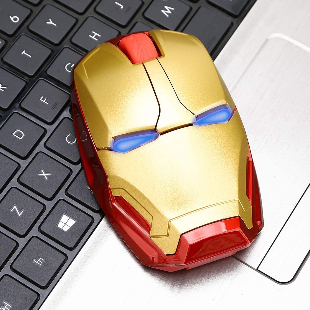 Iron Man Mouse Wireless Mouse Gaming Mouse Gamer Computer Mice Button Silent Click 800/1200/1600 DPI Adjustable Computer Mouse (Gold)