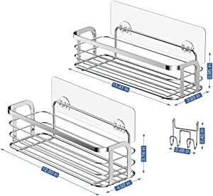 LUXEAR 2 Pack Shower Caddy with Hook Rustproof, Reusable Adhesive Wall Shower Shelf Rack Basket Storage Organizer for Bathroom Kitchen - Stainless Steel - No Glue