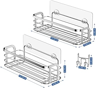 LUXEAR 2 Pack Shower Caddy with Hook Rustproof, Reusable Adhesive Wall Shower Shelf Rack Basket Storage Organizer for Bathroom Kitchen - No Glue