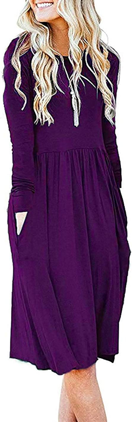 Becky's Fantasy Women's S-3XL Long Sleeve Pockets Empire Waist Pleated Loose Swing Casual Flare Dress