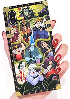 DISNEY COLLECTION iPhone X Rebel Character Square Phone Case Cover Soft TPU 360 Degree Luxury Shockproof Protective Case Compatible for iPhone X 5.8 Inch