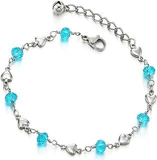 COOLSTEELANDBEYOND Acciaio Inossidabile Cavigliera da Donna con Cuore e Perline Blu Acrilica Cristallo