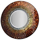 Lulu Decor, Baltic Amber Mosaic Wall Mirror, Decorative Handmade Beveled Round Mirror, Diameter 23.5', Mirror 11.5' Perfect for Housewarming Gift. (LP301)