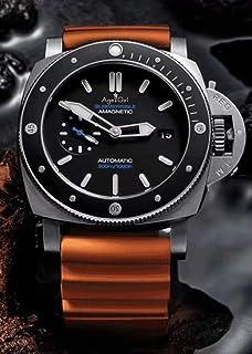 JFfactory - JFfactory Nuevo Reloj Luminoso de Goma Azul con Bisel de cerámica de Titanio ecológico de Acero Inoxidable de Zafiro mecánico automático para Hombre de 47 MM
